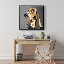 Framed 24 x 24 - Gold basset hound dog