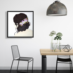 Framed 24 x 24 - Woman from behind with pink flowers