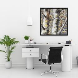 Framed 24 x 24 - Budding white birches 1