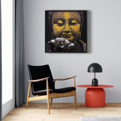 Framed 24 x 24 - The eternal smile of buddha and his lotus