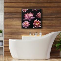 Framed 24 x 24 - Lotus flower pattern
