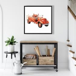 Framed 24 x 24 - Vintage fire truck