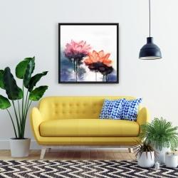 Framed 24 x 24 - Watercolor lotus flowers