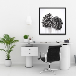 Framed 24 x 24 - Three small pine cones