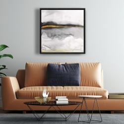 Framed 24 x 24 - Gold stripe abstract