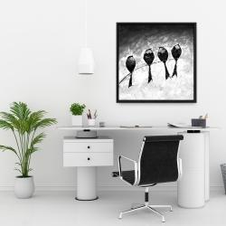 Framed 24 x 24 - Four birds perched