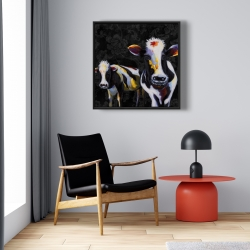 Framed 24 x 24 - Two funny cows victorian