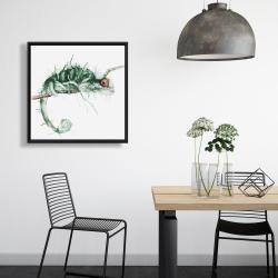 Framed 24 x 24 - Chameleon on the lookout