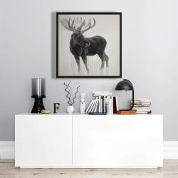 Framed 24 x 24 - Bull moose