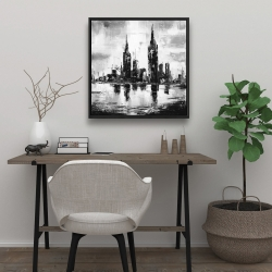 Framed 24 x 24 - Mono urban cityscape