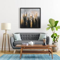 Framed 24 x 24 - Abstract gold skyscraper