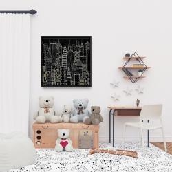 Framed 24 x 24 - Illustrative dark city