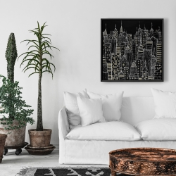 Framed 24 x 24 - Illustrative city towers