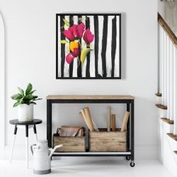 Framed 24 x 24 - Pink flowers on black stripes