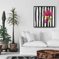 Framed 24 x 24 - Flowers on black and white stripes