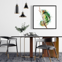Framed 24 x 24 - Watercolor chameleon