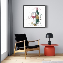 Framed 24 x 24 - Bottle of red wine