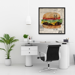 Framed 24 x 24 - Vintage style all dressed cheeseburger
