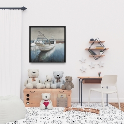 Framed 24 x 24 - Fishing boat desatured