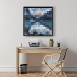 Framed 24 x 24 - Pixelated mountainous landscape
