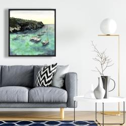 Framed 24 x 24 - Boats in cala macarella