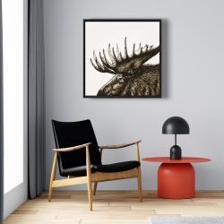 Framed 24 x 24 - Moose plume sepia