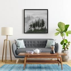 Framed 24 x 24 - Mountains landscape in dark watercolor