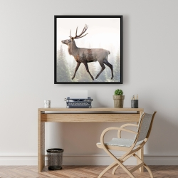 Framed 24 x 24 - Large plume roe deer