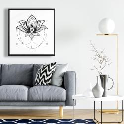 Framed 24 x 24 - Ethnic lotus ornament