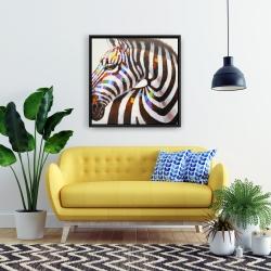 Framed 24 x 24 - Colorful zebra