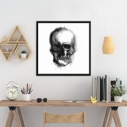 Framed 24 x 24 - Watercolor dark skull
