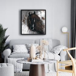 Framed 24 x 24 - Dark brown horse