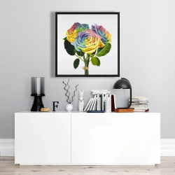 Framed 24 x 24 - Bouquet of rainbow roses