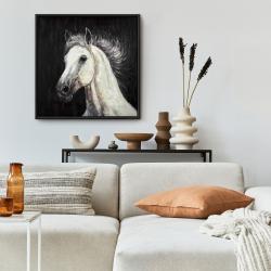 Framed 24 x 24 - White star horse