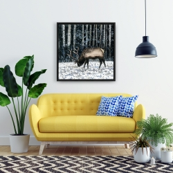 Framed 24 x 24 - Caribou in the winter forest