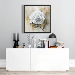 Framed 24 x 24 - White peony