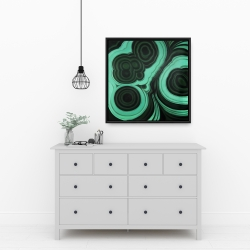 Framed 24 x 24 - Malachite stone