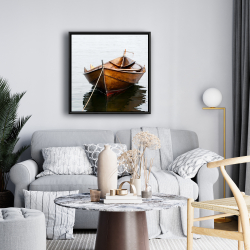 Framed 24 x 24 - Rowboat on calm water
