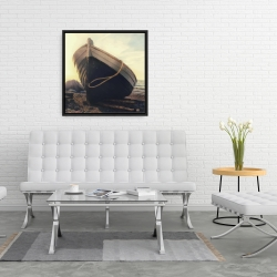 Framed 24 x 24 - Rowboat at the water's edge