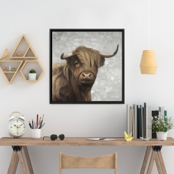 Framed 24 x 24 - Desaturated highland cattle