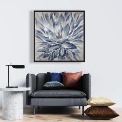 Framed 24 x 24 - Blue and gray flower