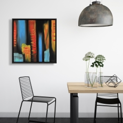 Framed 24 x 24 - Abstract and colorful tall buildings