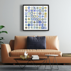 Framed 24 x 24 - Watercolor traditional moroccan tiles