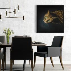 Framed 24 x 24 - Bengal cat