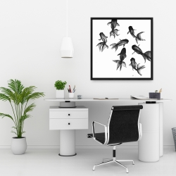 Framed 24 x 24 - Small black fishes