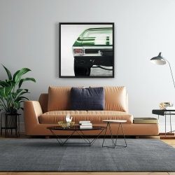 Framed 24 x 24 - Classic dark green car