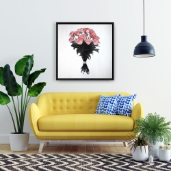Framed 24 x 24 - Bouquet of coral roses