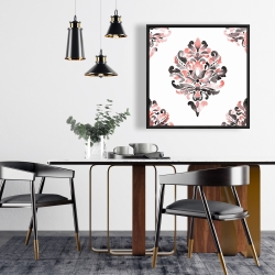 Framed 24 x 24 - Coral baroque ornament
