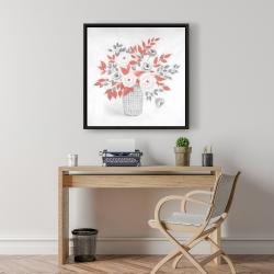 Framed 24 x 24 - Flower illustration