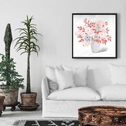 Framed 24 x 24 - Coral flower illustration